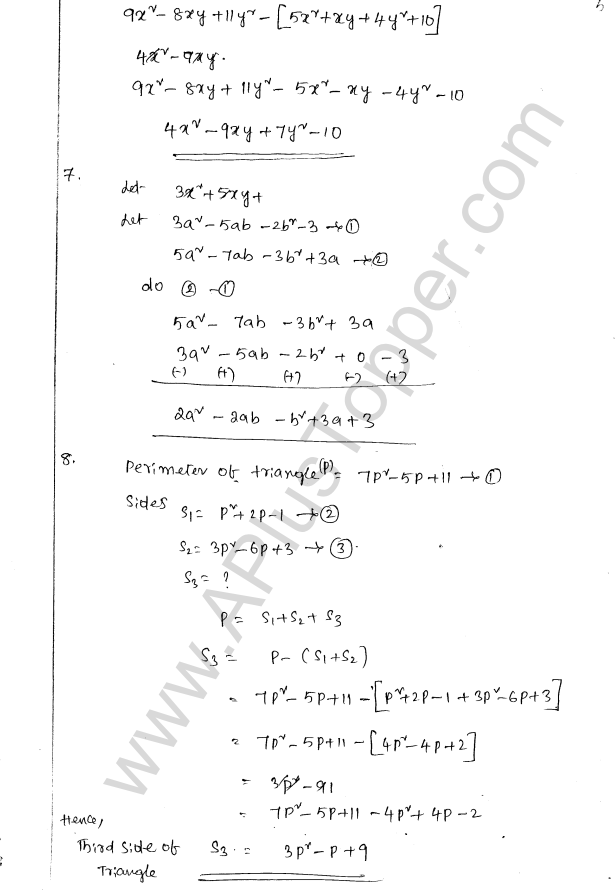 ML Aggarwal ICSE Solutions for Class 8 Maths Chapter 10 Algebraic Expressions and Identities 5