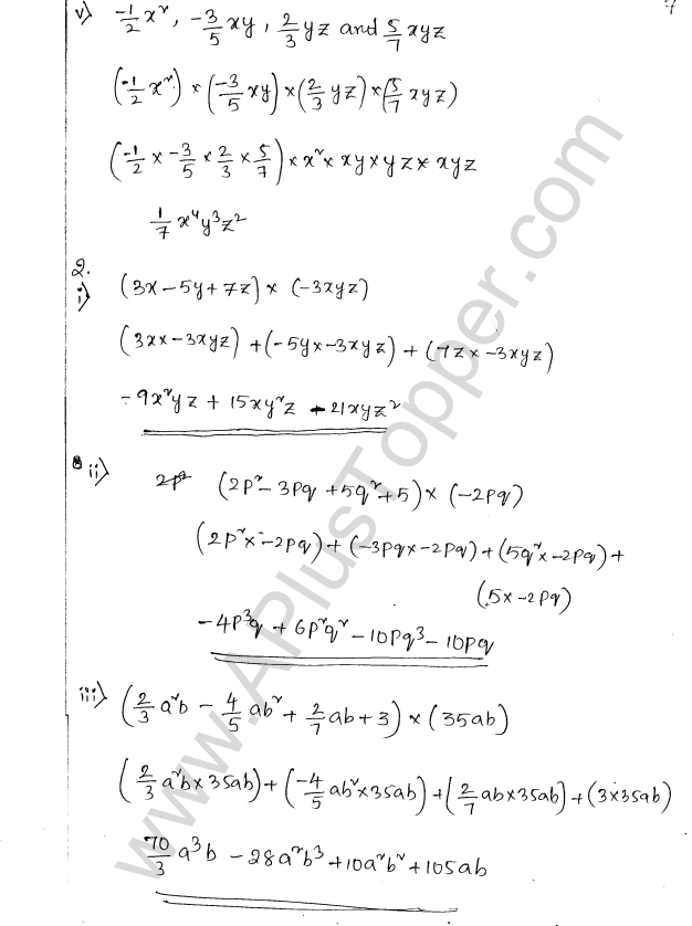 ML Aggarwal ICSE Solutions for Class 8 Maths Chapter 10 Algebraic Expressions and Identities 7