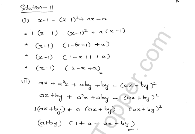 ML Aggarwal ICSE Solutions for Class 8 Maths Chapter 11 Factorisation 10