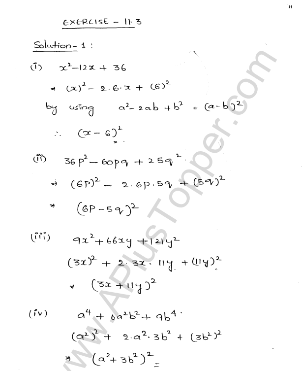 ML Aggarwal ICSE Solutions for Class 8 Maths Chapter 11 Factorisation 11