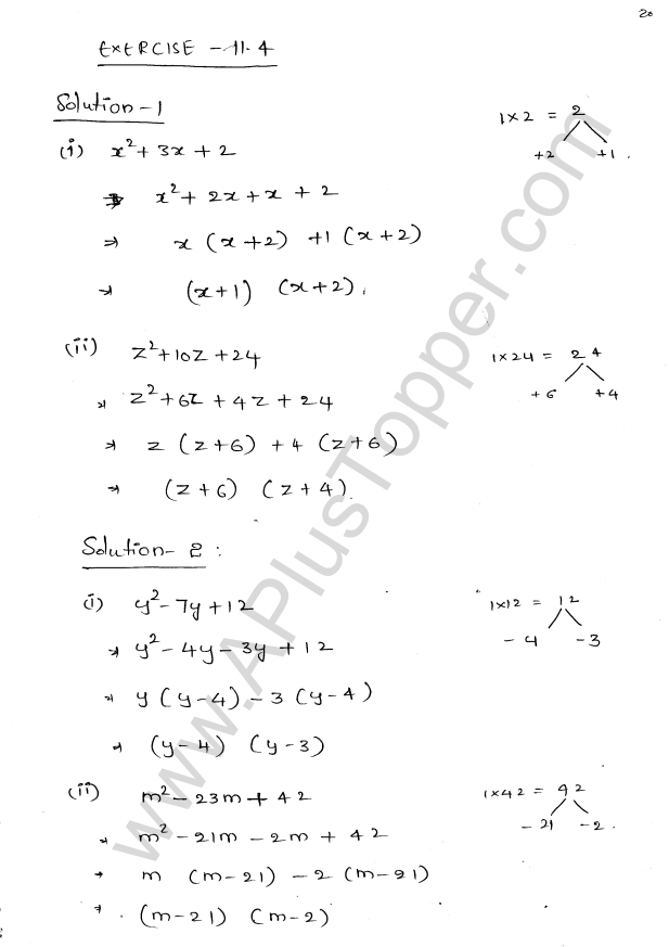 ML Aggarwal ICSE Solutions for Class 8 Maths Chapter 11 Factorisation 20