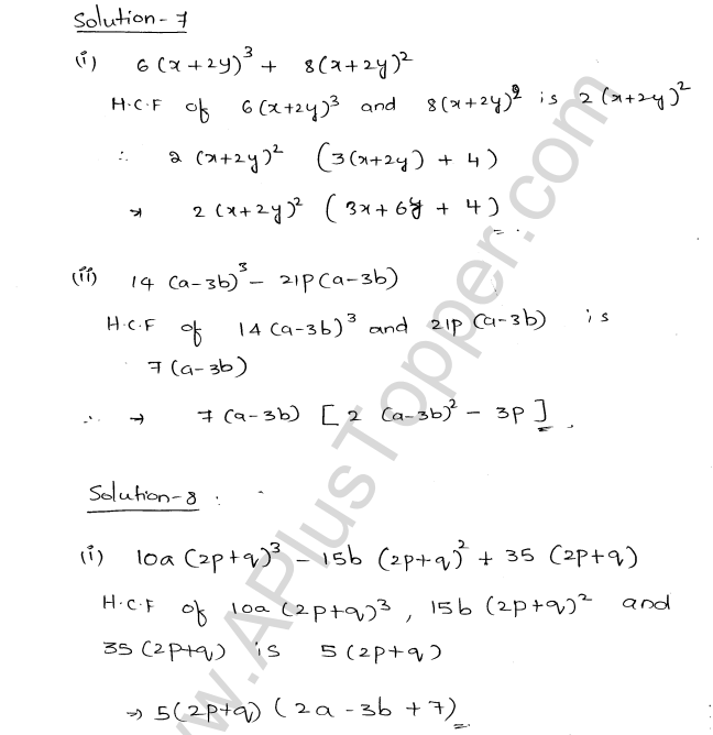 ML Aggarwal ICSE Solutions for Class 8 Maths Chapter 11 Factorisation 4