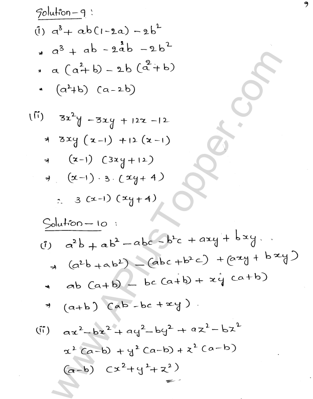 ML Aggarwal ICSE Solutions for Class 8 Maths Chapter 11 Factorisation 9
