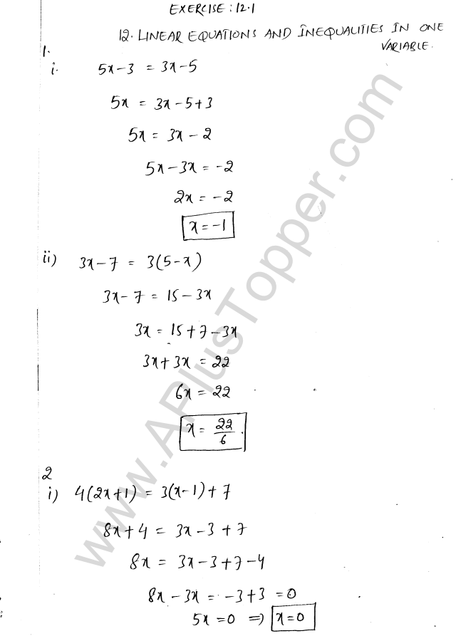 ML Aggarwal ICSE Solutions for Class 8 Maths Chapter 12 Linear Equations and Inqualities In one Variable 1