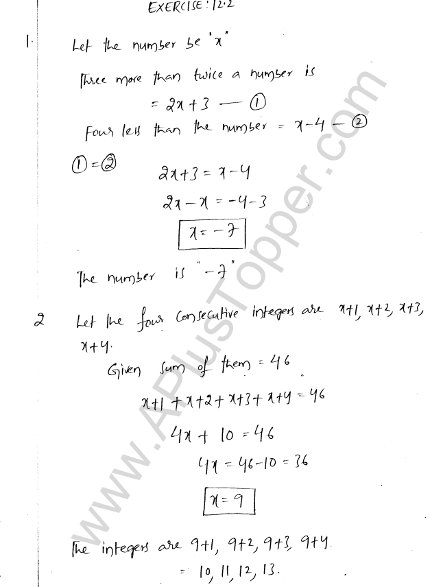 ML Aggarwal ICSE Solutions for Class 8 Maths Chapter 12 Linear Equations and Inqualities In one Variable 12
