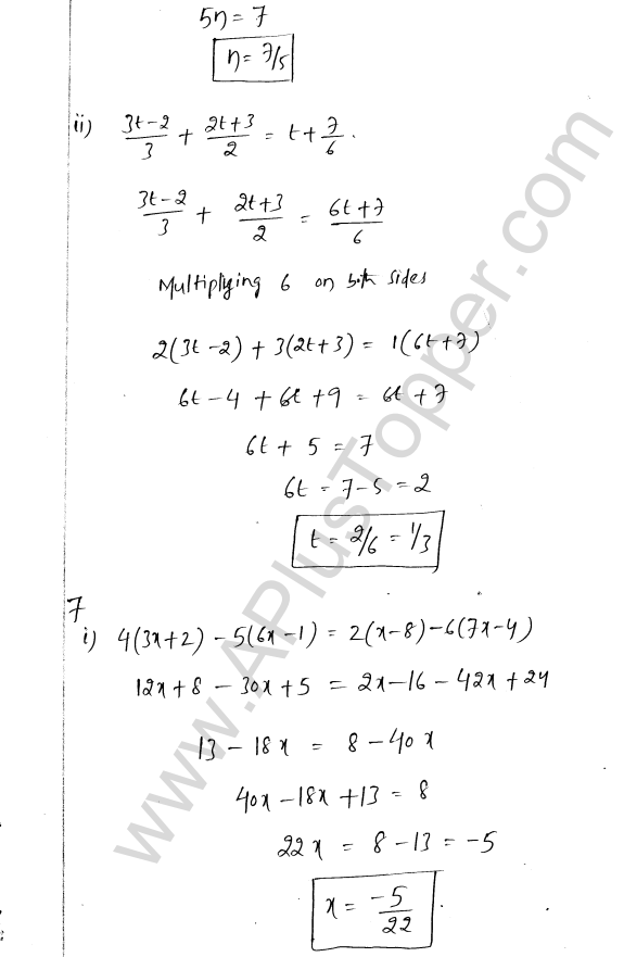 ML Aggarwal ICSE Solutions for Class 8 Maths Chapter 12 Linear Equations and Inqualities In one Variable 6