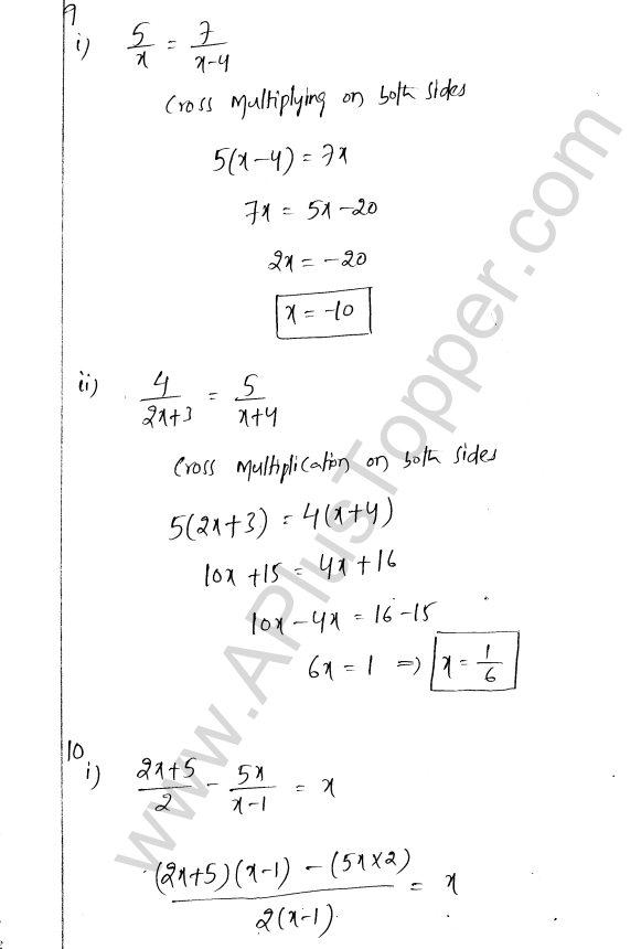ML Aggarwal ICSE Solutions for Class 8 Maths Chapter 12 Linear Equations and Inqualities In one Variable 8