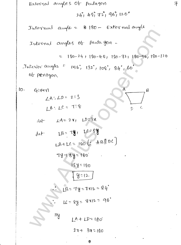 ML Aggarwal ICSE Solutions for Class 8 Maths Chapter 13 Understanding Quadrilaterals 7