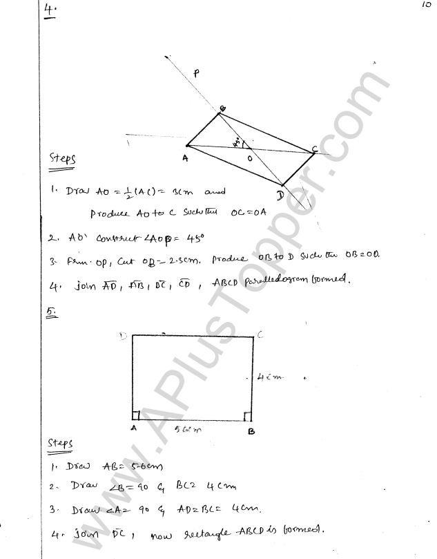 ML Aggarwal ICSE Solutions for Class 8 Maths Chapter 14 Constructions of Quadrilaterals 10
