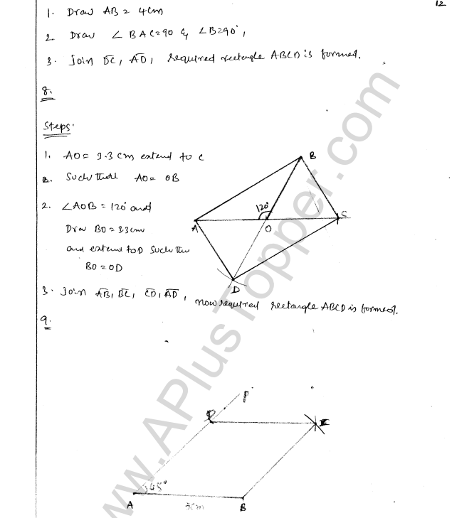 ML Aggarwal ICSE Solutions for Class 8 Maths Chapter 14 Constructions of Quadrilaterals 12