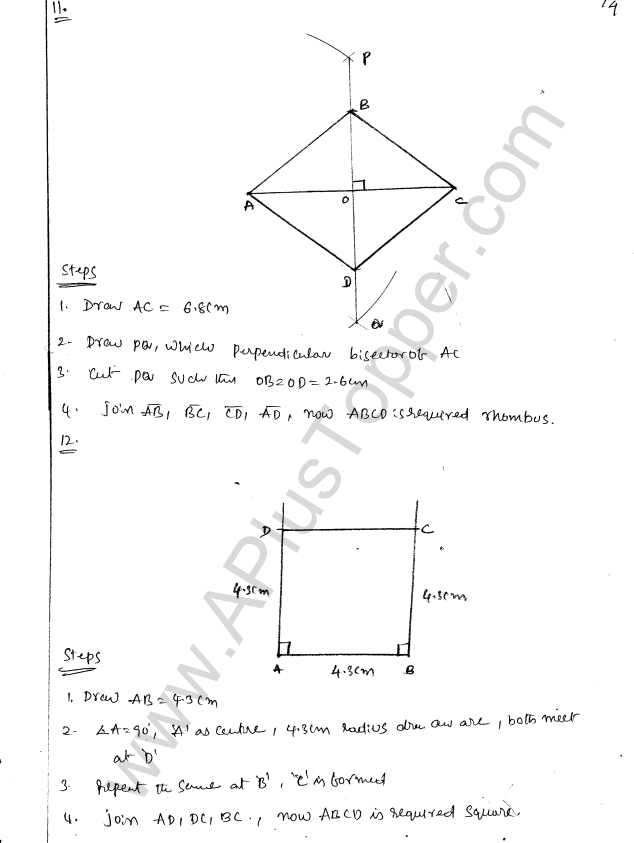 ML Aggarwal ICSE Solutions for Class 8 Maths Chapter 14 Constructions of Quadrilaterals 14