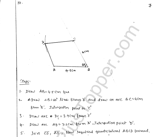 ML Aggarwal ICSE Solutions for Class 8 Maths Chapter 14 Constructions of Quadrilaterals 7