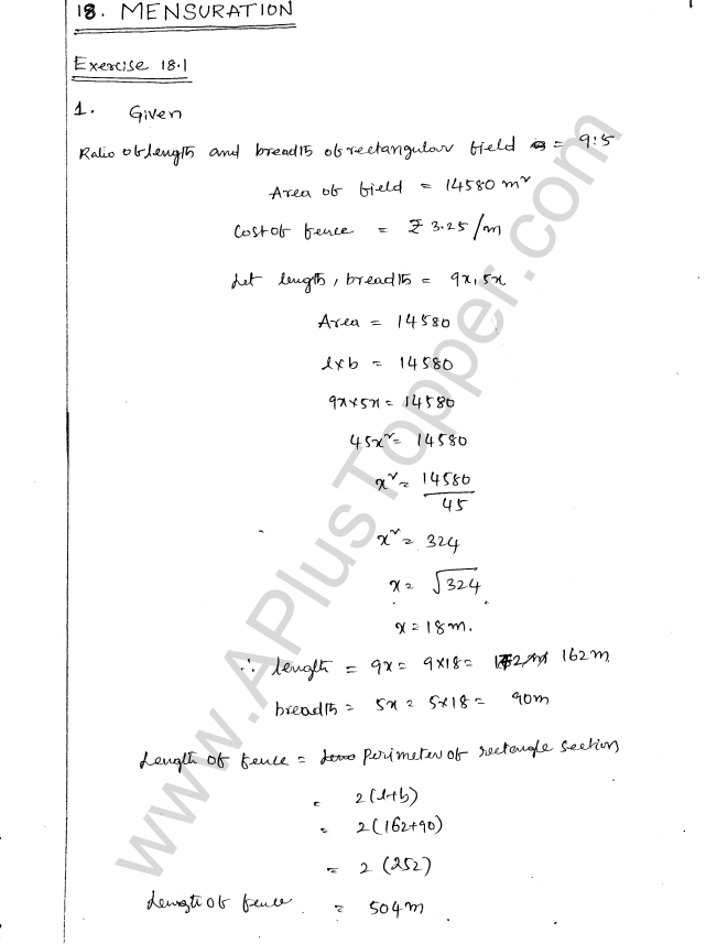 ML Aggarwal ICSE Solutions for Class 8 Maths Chapter 18 Mensuration 1