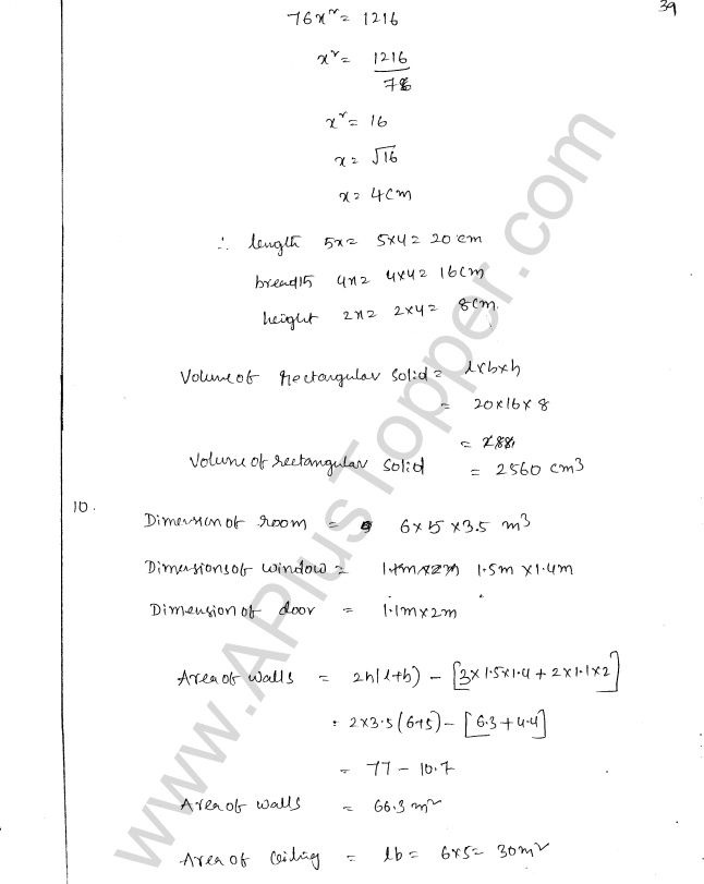 ML Aggarwal ICSE Solutions for Class 8 Maths Chapter 18 Mensuration 39