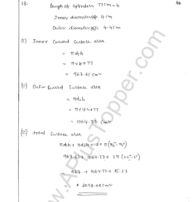 ML Aggarwal ICSE Solutions for Class 8 Maths Chapter 18 Mensuration 46