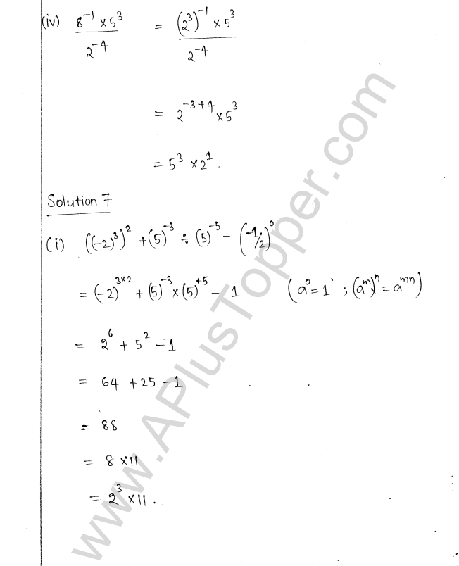 ML Aggarwal ICSE Solutions for Class 8 Maths Chapter 2 Exponents and Powers 7
