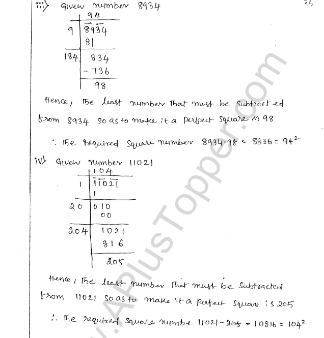 ML Aggarwal ICSE Solutions for Class 8 Maths Chapter 3 Squares and Square Roots 37