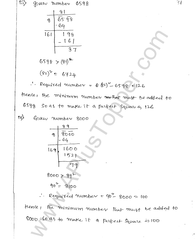 ML Aggarwal ICSE Solutions for Class 8 Maths Chapter 3 Squares and Square Roots 93
