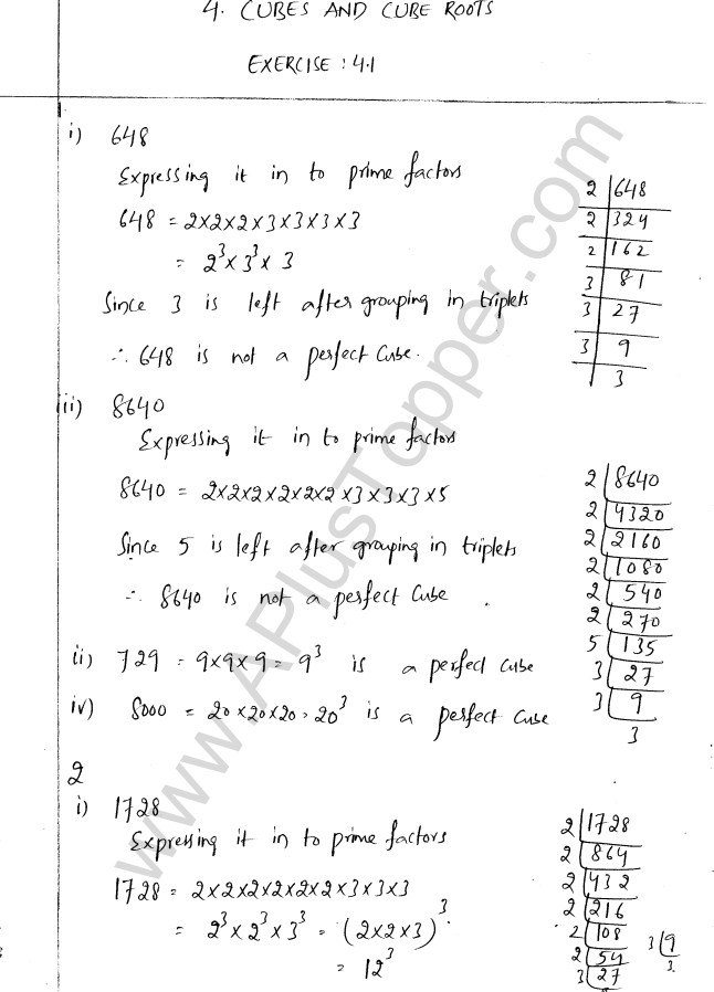 ML Aggarwal ICSE Solutions for Class 8 Maths Chapter 4 Cubes and Cube Roots 1