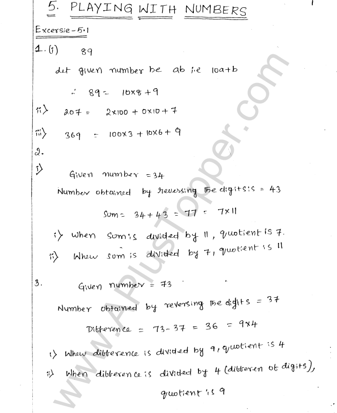 ML Aggarwal ICSE Solutions for Class 8 Maths Chapter 5 Playing with Numbers 1