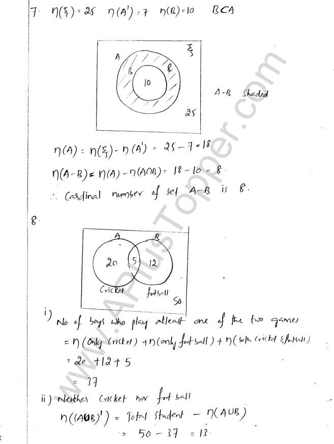ML Aggarwal ICSE Solutions for Class 8 Maths Chapter 6 Operation on sets Venn Diagrams 11
