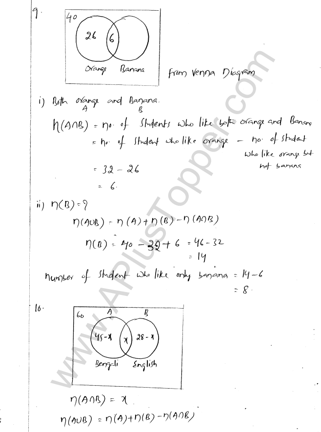 ML Aggarwal ICSE Solutions for Class 8 Maths Chapter 6 Operation on sets Venn Diagrams 12
