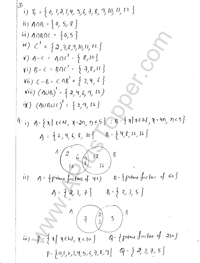 ML Aggarwal ICSE Solutions for Class 8 Maths Chapter 6 Operation on sets Venn Diagrams 9