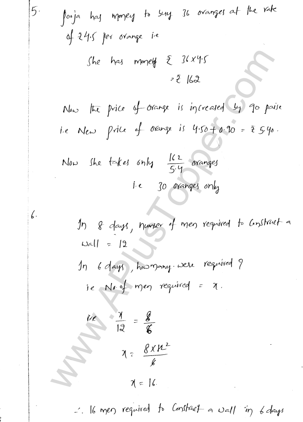 ML Aggarwal ICSE Solutions for Class 8 Maths Chapter 9 Direct and Inverse Variation 10