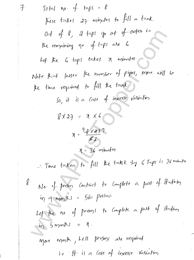 ML Aggarwal ICSE Solutions for Class 8 Maths Chapter 9 Direct and Inverse Variation 11