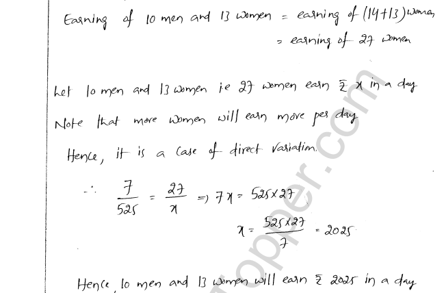 ML Aggarwal ICSE Solutions for Class 8 Maths Chapter 9 Direct and Inverse Variation 7