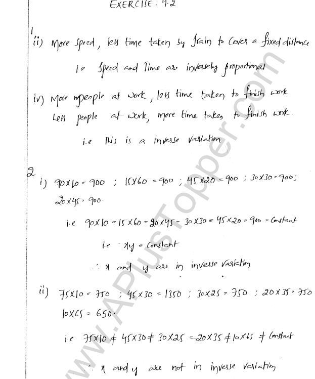 ML Aggarwal ICSE Solutions for Class 8 Maths Chapter 9 Direct and Inverse Variation 8