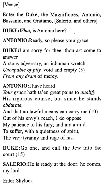 Merchant Of Venice Act 4 Scene 1 Translation Meaning Annotation A Plu Topper Tempest Paraphrase