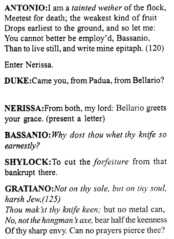 Merchant of Venice Act 4, Scene 1 Translation Meaning Annotations 11