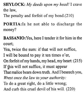 Merchant of Venice Act 4, Scene 1 Translation Meaning Annotations 20