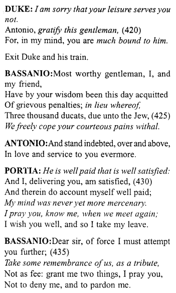 Merchant of Venice Act 4, Scene 1 Translation Meaning Annotations 37