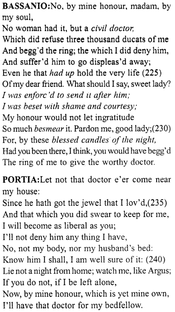 Merchant of Venice Act 5, Scene 1 Translation Meaning Annotations 16