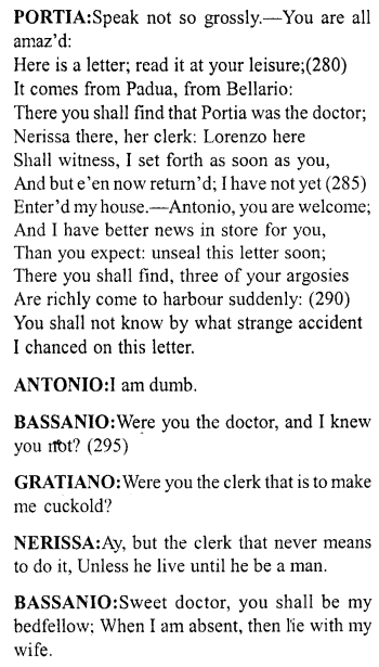 Merchant of Venice Act 5, Scene 1 Translation Meaning Annotations 20