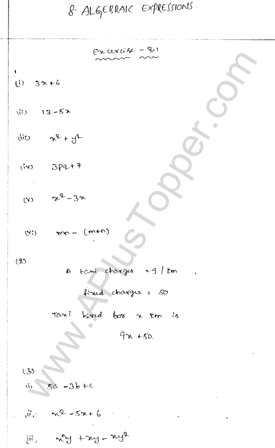 ml-aggarwal-icse-solutions-for-class-7-maths-chapter-8-algebraic-expressions-1