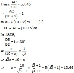 RS Aggarwal Solutions Class 10 Chapter 14 Height and Distance 14 25.2