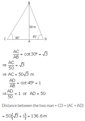 RS Aggarwal Solutions Class 10 Chapter 14 Height and Distance 14 27.1