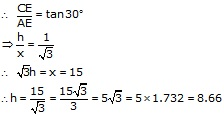 RS Aggarwal Solutions Class 10 Chapter 14 Height and Distance 14 9.2