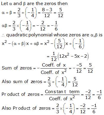 RS Aggarwal Solutions Class 10 Chapter 2 Polynomials 2a 11.1