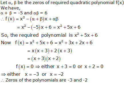 RS Aggarwal Solutions Class 10 Chapter 2 Polynomials 2a 13.1