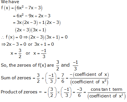 RS Aggarwal Solutions Class 10 Chapter 2 Polynomials 2a 2.1