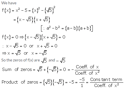 RS Aggarwal Solutions Class 10 Chapter 2 Polynomials 2a 7.1