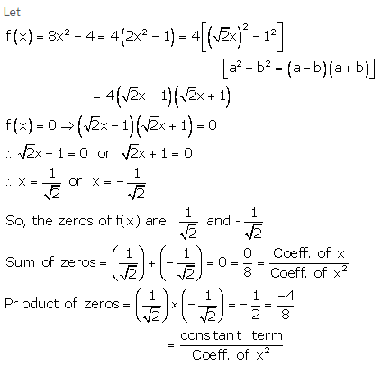 RS Aggarwal Solutions Class 10 Chapter 2 Polynomials 2a 8.1