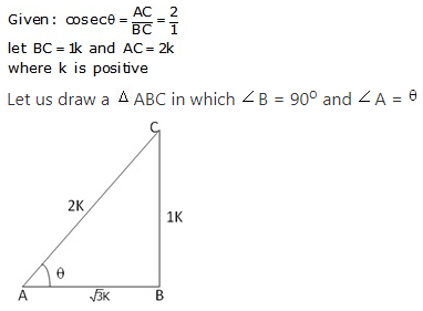 RS Aggarwal Solutions Class 10 Chapter 5 Trigonometric Ratios 10.1