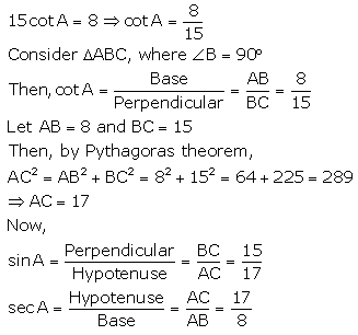 RS Aggarwal Solutions Class 10 Chapter 5 Trigonometric Ratios 7.2