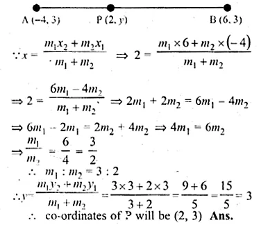 ML Aggarwal Class 10 Solutions for ICSE Maths Chapter 11 Section Formula Chapter Test Q12.1