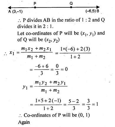 ML Aggarwal Class 10 Solutions for ICSE Maths Chapter 11 Section Formula Chapter Test Q5.1